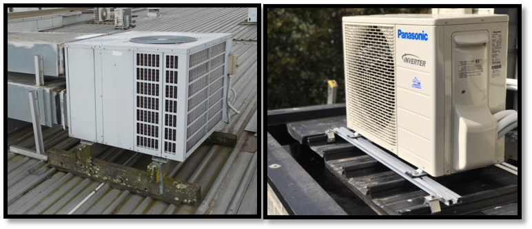 HVAC systems installed the wrong way (left) and the right way (right)
