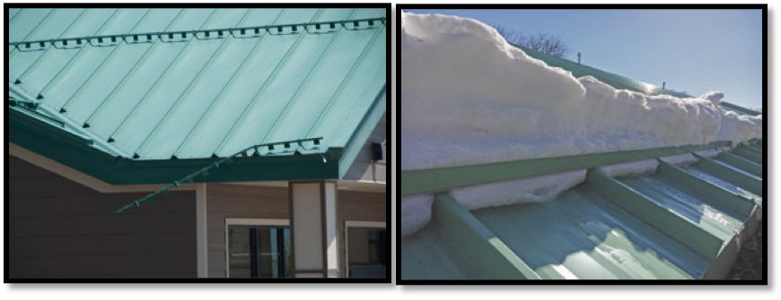 Snow guard systems installed the wrong way (left) and the right way (right)